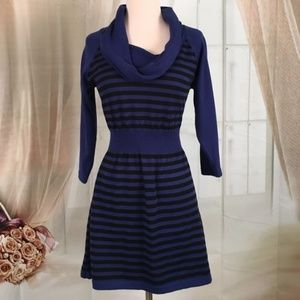 Metaphor Blue Striped Cowl-neck Sweater Dress